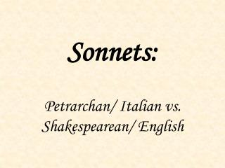 Sonnets: