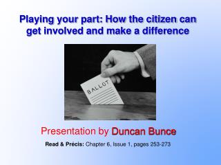 Playing your part: How the citizen can get involved and make a difference