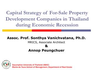 Capital Strategy of For-Sale Property  Development Companies in Thailand during Economic Recession