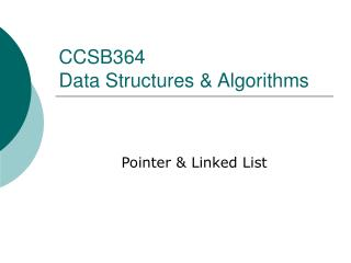 CCSB364  Data Structures & Algorithms