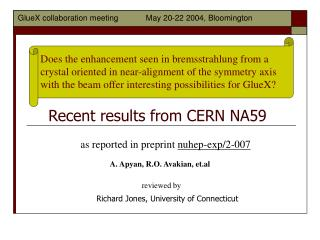Recent results from CERN NA59