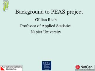 Background to PEAS project