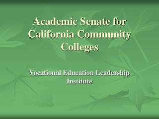 Academic Senate for California Community Colleges