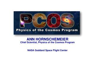 ANN HORNSCHEMEIER Chief Scientist, Physics of the Cosmos Program NASA Goddard Space Flight Center