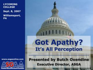 Got Apathy? It's All Perception