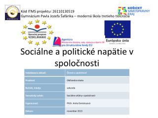 Sociálne a politické napätie v spoločnosti