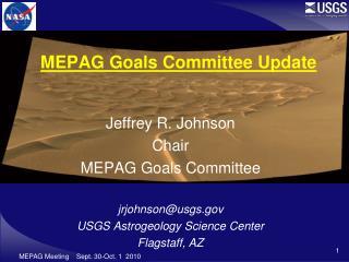 MEPAG Goals Committee Update