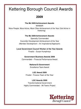 Kettering Borough Council Awards