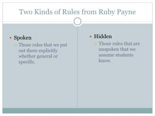 Two Kinds of Rules from Ruby Payne