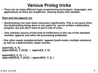 Various Prolog tricks