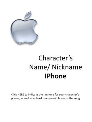 Character's Name/ Nickname IPhone