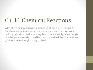 Ch. 11 Chemical Reactions