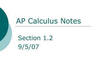 AP Calculus Notes