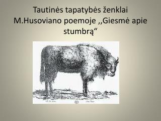 """Tautinės tapatybės ženklai  M.Husoviano  poemoje ,,Giesmė apie stumbrą"""""""