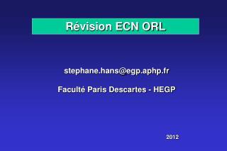 Révision ECN ORL