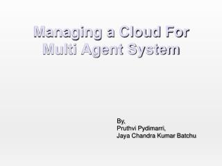 Managing a Cloud For Multi Agent System