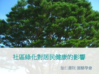 社區綠化對居民健康的影響