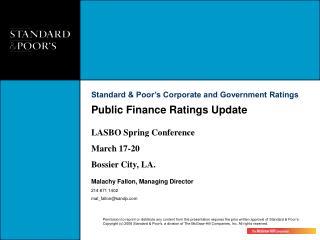 Public Finance Ratings Update