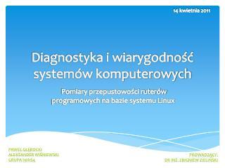 Diagnostyka i wiarygodność  systemów komputerowych