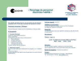 «Recyclage du personnel        électricien habilité»