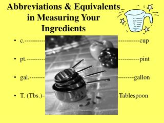 Abbreviations  Equivalents in Measuring Your Ingredients