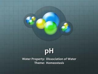 Water Property:  Dissociation of Water Theme:  Homeostasis
