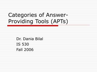 Categories of Answer-Providing Tools (APTs)