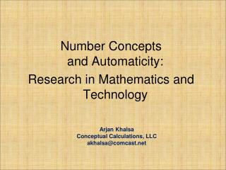 Number Concepts and Automaticity: Research in Mathematics and Technology