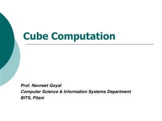 Cube Computation