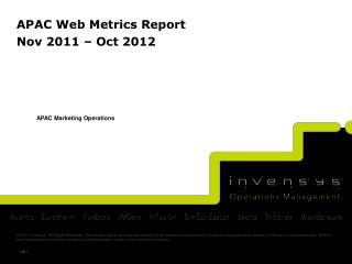APAC Web Metrics Report  Nov  2011 –  Oct  2012