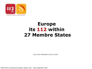Europe its  112  within   27 Membre States