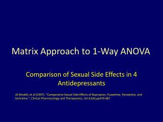 Matrix Approach to 1-Way ANOVA