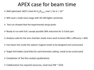 APEX case for  beam  time