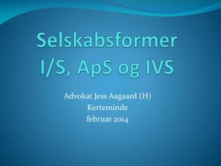 Selskabsformer I/S, ApS og IVS