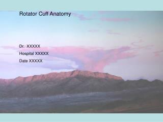 Rotator Cuff Anatomy Dr.  XXXXX Hospital XXXXX Date XXXXX