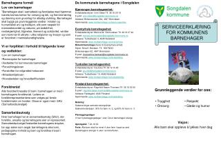 SERVICEERKLÆRING  FOR KOMMUNENS BARNEHAGER