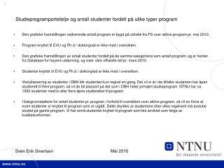 Studieprogramportefølje og antall studenter fordelt på ulike typer program
