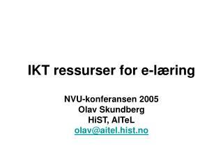 IKT ressurser for e-læring