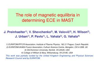 The role of magnetic equilibria in determining ECE in MAST