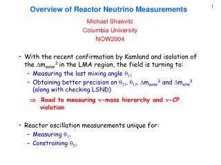 Overview of Reactor Neutrino Measurements