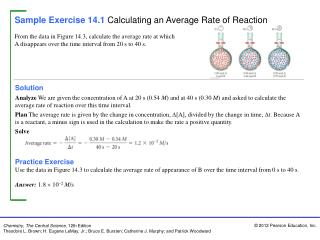 Sample Exercise 14.1 Calculating an Average Rate of Reaction