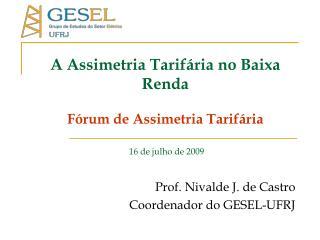 A Assimetria Tarifária no Baixa Renda Fórum de Assimetria Tarifária 16 de julho de 2009