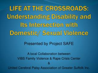 Presented by Project SAFE A local Collaboration between VIBS Family Violence & Rape Crisis Center