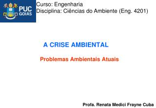 A CRISE AMBIENTAL