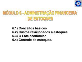 MÓDULO 6 - ADMINISTRAÇÃO FINANCEIRA  DE ESTOQUES