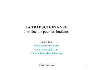LA TRADUCTION A VUE Introduction pour les �tudiants