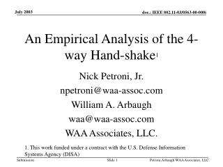 An Empirical Analysis of the 4-way Hand-shake 1