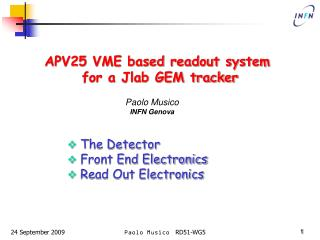 APV25 VME based readout system  for a Jlab GEM tracker