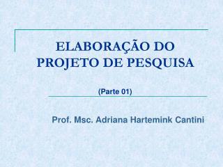 ELABORAÇÃO DO PROJETO DE PESQUISA (Parte 01)