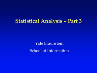 Statistical Analysis   Part 3